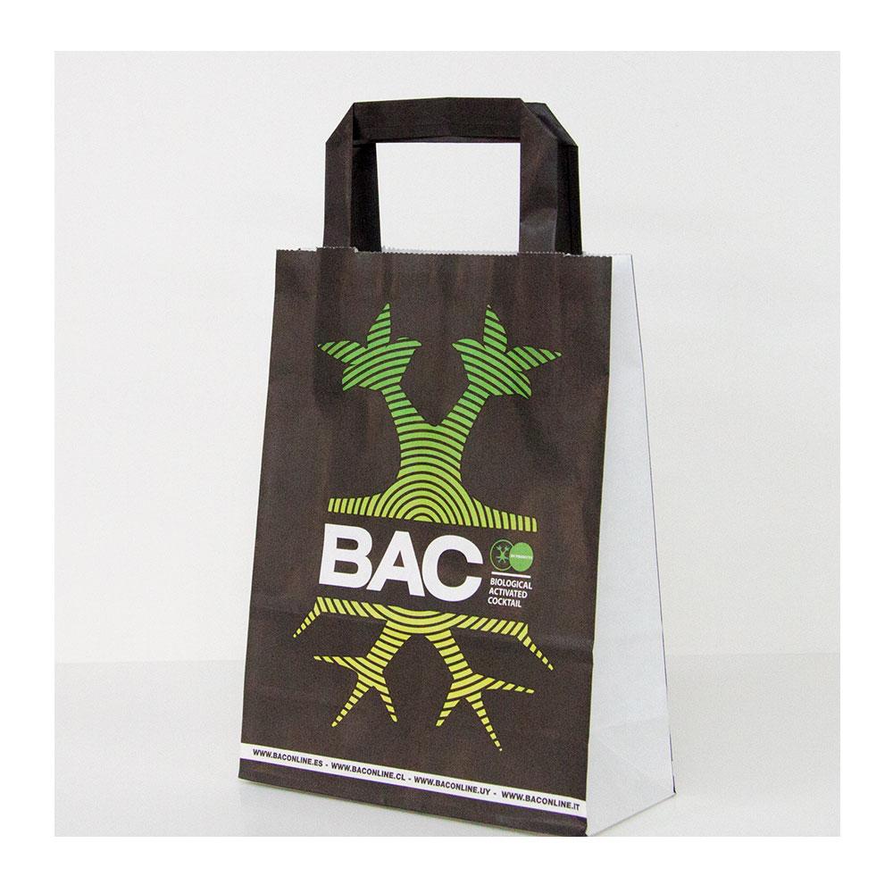 Bolsa de papel de asa plana con impresión personalizada.