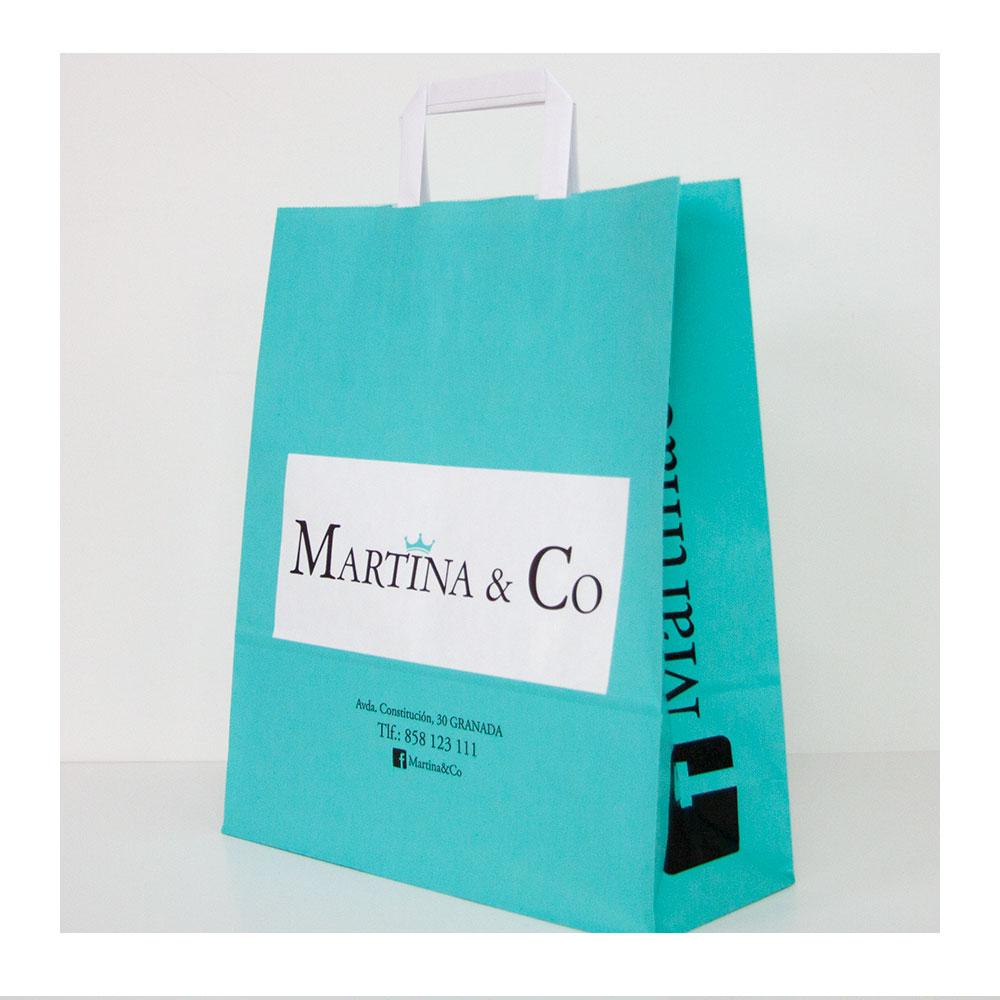 Bolsa de papel de asa plana con impresión personalizada